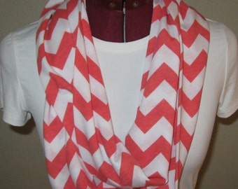 Sale. Free Shipping. One Coral and White Chevron Infinity Scarf. Soft Drapable. 7 x 70. Accessories