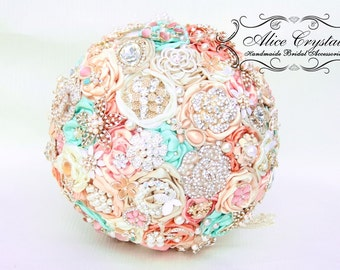 Brooch bouquet.Ivory and Champagne,mint, peppermint and pink wedding brooch bouquet, Jeweled Bouquet.