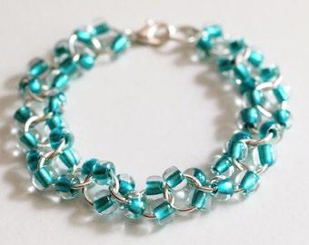 Beaded Chainmaille Bracelet, Turquoise Beaded Bracelet, Cable Chainmaille Bracelet, Beaded Chain Mail Bracelet