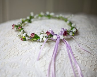 Flowergirl's Garland Wedding Headband adorned with artificial flowers and ribbin