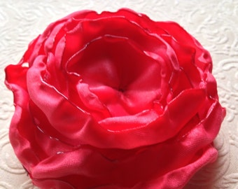 coral satin flower, satin flower,  embellishment, supply, singed flower, coral flower
