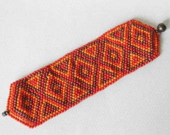 Beaded orange red brown cuff bracelet with magnetic clasp / beadwork / cuff