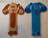 Felt Puppy Dog Bookmark Blue or Brown With Spots