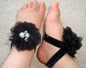 Barefoot Baby Sandals - Black Jeweled Piggy Petals - Toe Blooms - Photo Props - Baby Shower Gift - Toddler Sandels - Baby Sandals