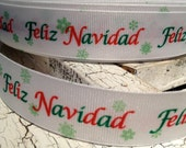 "3 yards 7/8"" Feliz Navidad Merry Christmas GREEN and WHITE Grosgrain Ribbon"