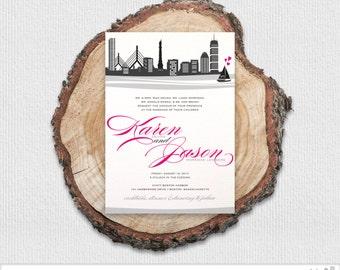 Pink & Gray Boston Skyline Wedding Invitation Package