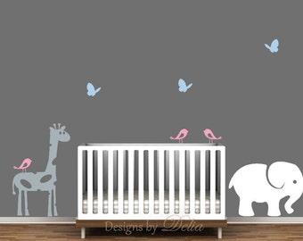 Nursery Decals, Jungle Animals, Giraffe, Elephant, Baby Elephant, Birds, and Butterflies