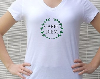 Womens Seize the Day Top White Tshirt Inspiration T Shirt, Carpe Diem