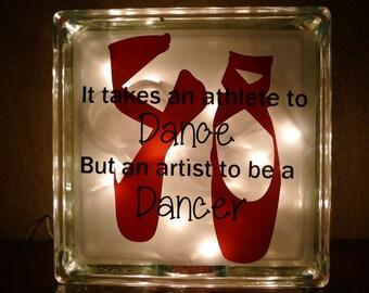 Ballerina Dancer Glass Block Night Light