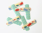 Washi Bandages - Whales, Fish, Red, Blue, Boys, Accessories, Fashion, Get Well