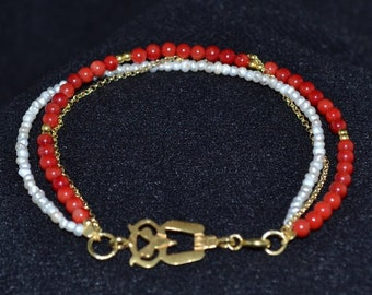 Beaded Bracelet with Gold Plated Owl Charm