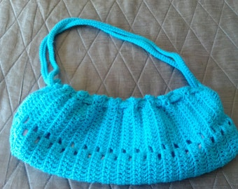Crochet Purse Turquoise Blue with bright colorfull lining