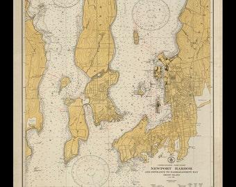Nautical Map of Newport Harbor - 1831
