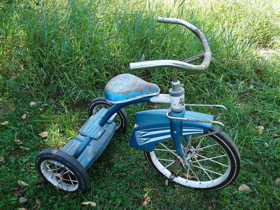Murray Indian Flyer Retro Blue Trike Tricycle Fender Bike Radio