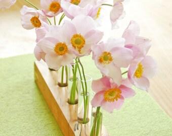 wooden  vase, bud vase romantic, summer flowers