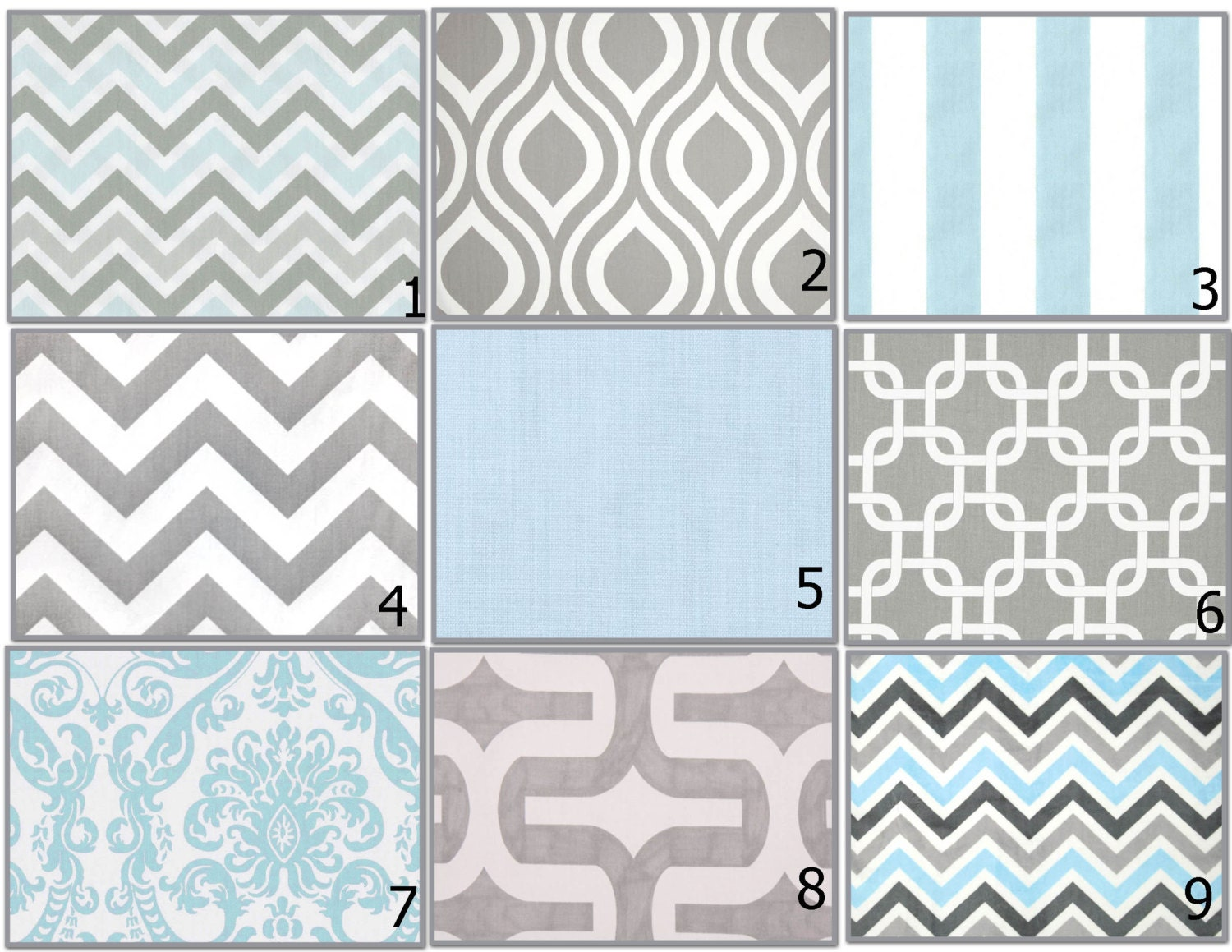 Unavailable listing on etsy - Light blue and gray bedding ...
