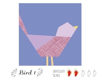 Bird 1 paper pieced quilt pattern in PDF