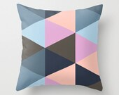 """Blue Pink Geometric Shapes Triangles Pattern Throw Pillow Cover Pillowcase 40x40 cm / 16""""x16"""""""