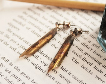 Fountain Pen Nib Dangle Earrings Quirky Earrings Old Gold colour with J letter Industrial Gifts for Librarian Holiday Gifts for Her