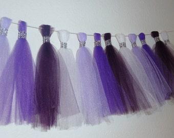 lavender eggplant  plum purple tulle tassel garland bling wedding baby bridal shower nursery quinceanera decor ORIGINAL DESIGN