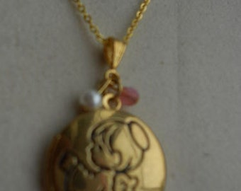 Cute Gold Plated Angel Locket