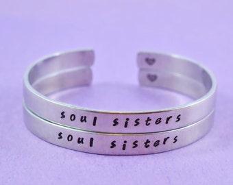 soul sisters - Hand Stamped Aluminum Cuff Bracelets Set, Handwritten Font, Forever Love, Friendship, BFF