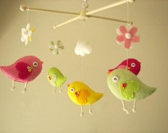 """Baby crib mobile, Bird mobile, felt mobile, nursery mobile, baby mobile,""""Bird - Pink and Green"""""""