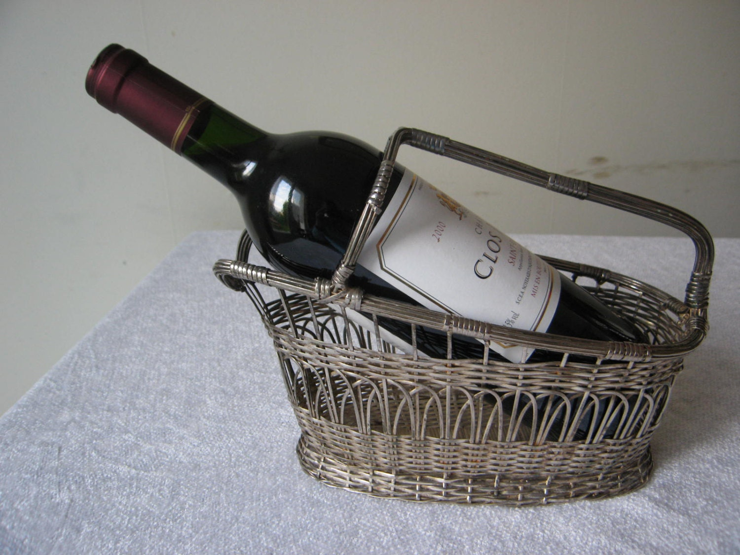 Wine bottle carrier holder vintage french wire basket - Wire wine bottle carrier ...