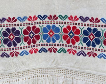 6. 100 % linen , vintage hand embroidered decor towel  or table runner from Eastern-Europe from 1950s  (Nr. 11)