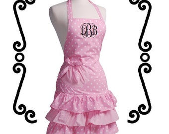 Monogrammed Ruffled APRON - Light Pink Polka Dot - Custom Embroidery - Perfect Gift for the Bride - Bridal Shower Gift - Hostess Gift