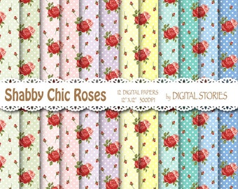 "Shabby Chic Digital Paper: ""DOTS RED ROSES"" Floral background with roses for scrapbooking, invites, cards"