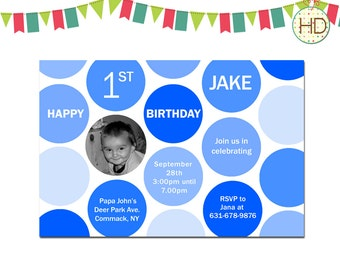 Polka Dot Invitation, Polka Dot First Birthday Invitation, Polka Dot Party, First Birthday Photo Invitation