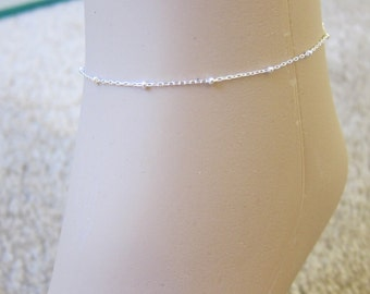 Also available in gold, Tiny Beaded Sterling Silver  Anklet, Silver Ankle Bracelet, Delicate anklet, Simple Anklet, Special Gift.