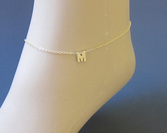 gold initial anklet, tiny gold anklet, delicate gold anklet, tiny initial , letter ankle bracelet , summer, minimalist