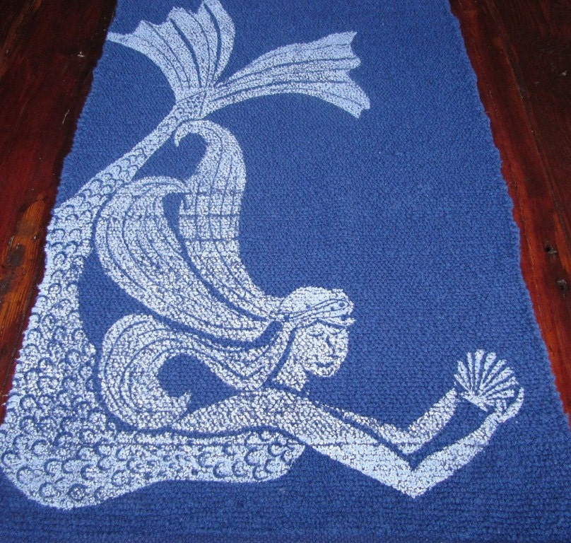 Bath Mat Cotton Rug Mermaid Color White On Navy Blue
