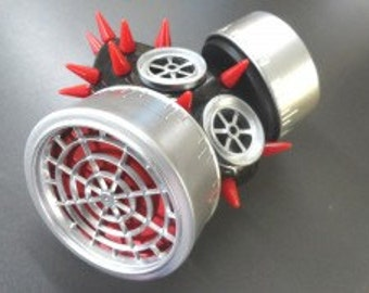Silver Respirator with Red Spikes