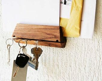 Key Hook and Mail Organizer Handmade from Oak