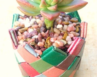 Origami plant pot made with recycled paper towel tubes - strong sturdy, long-lasting- jewel tones