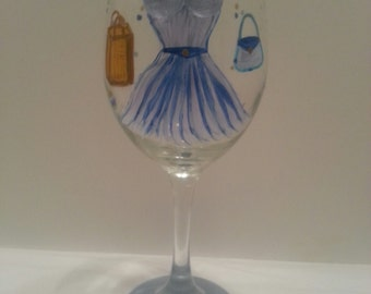 Glass goblet, hand-painted glass