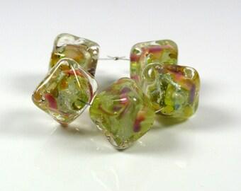 Handmade Lampwork Glass beads set Grass Green Val Cox frit Pink Purple Silver Foil