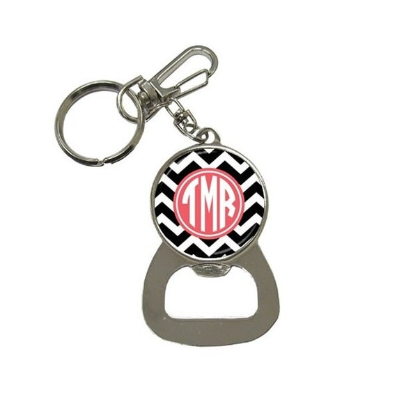 items similar to monogram bottle opener key chain mix and match design on etsy. Black Bedroom Furniture Sets. Home Design Ideas