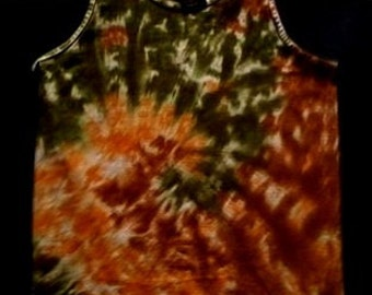 Earth Tone Spiral Tie Dye Tank Top