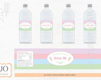 Ice Cream Themed Water Bottle Label / Ice Cream Party / Ice Cream Social