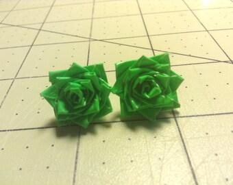 Duck Tape Rose Earrings- Green
