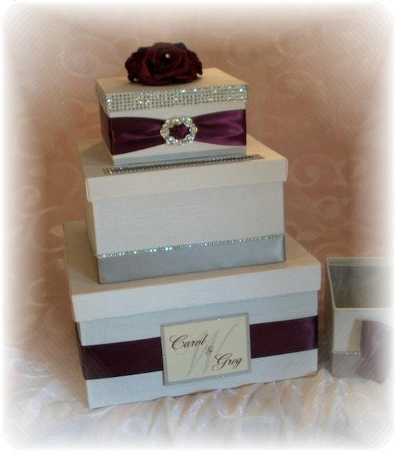 Wedding Card Box Ivory And Plum Purple Burgundy Ready To