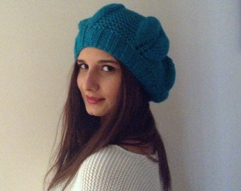 teal green headpiece, hat, Christmas gifts, Womens hat, women Slouchy Beanie, Fashion gifts, Winter Accessories