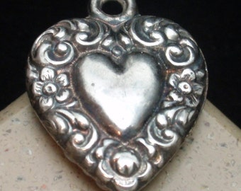 Puffy Heart Charm Vintage Sterling Silver Repousse on Both Sides