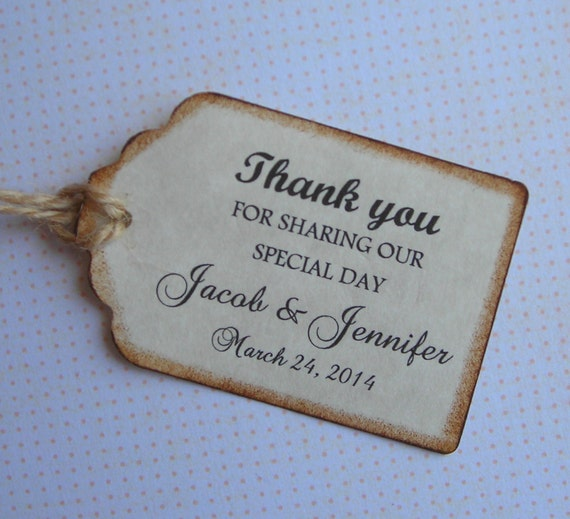 Wedding Favor Tags, Wedding Tags, 50 Personalized Wedding Tags,Thank ...
