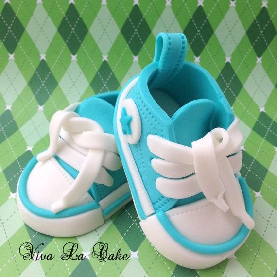Fondant Baby boy shoes cake topper