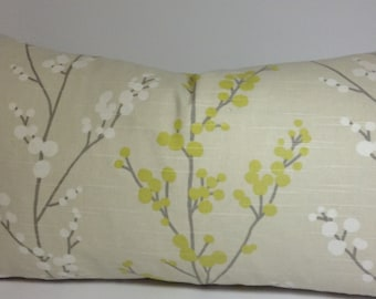 Evelynne Lemongrass pillow cover with white and green branches